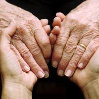 vier Hände, die sich anfassen